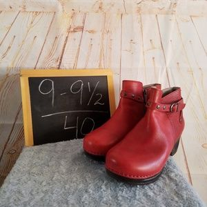 Sanita Dakota Red Leather Booties Size 40